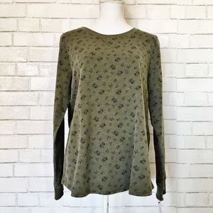 NWT Sonoma Olive Green & Floral Lounge Top